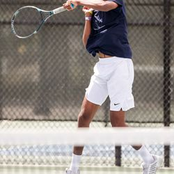 Waterford's Lalith Suresh plays against Rowland Hall's Jaiden Handlon in the 3A boys tennis No. 1 singles championship match at Liberty Park in Salt Lake City on Saturday, May 22, 2021.
