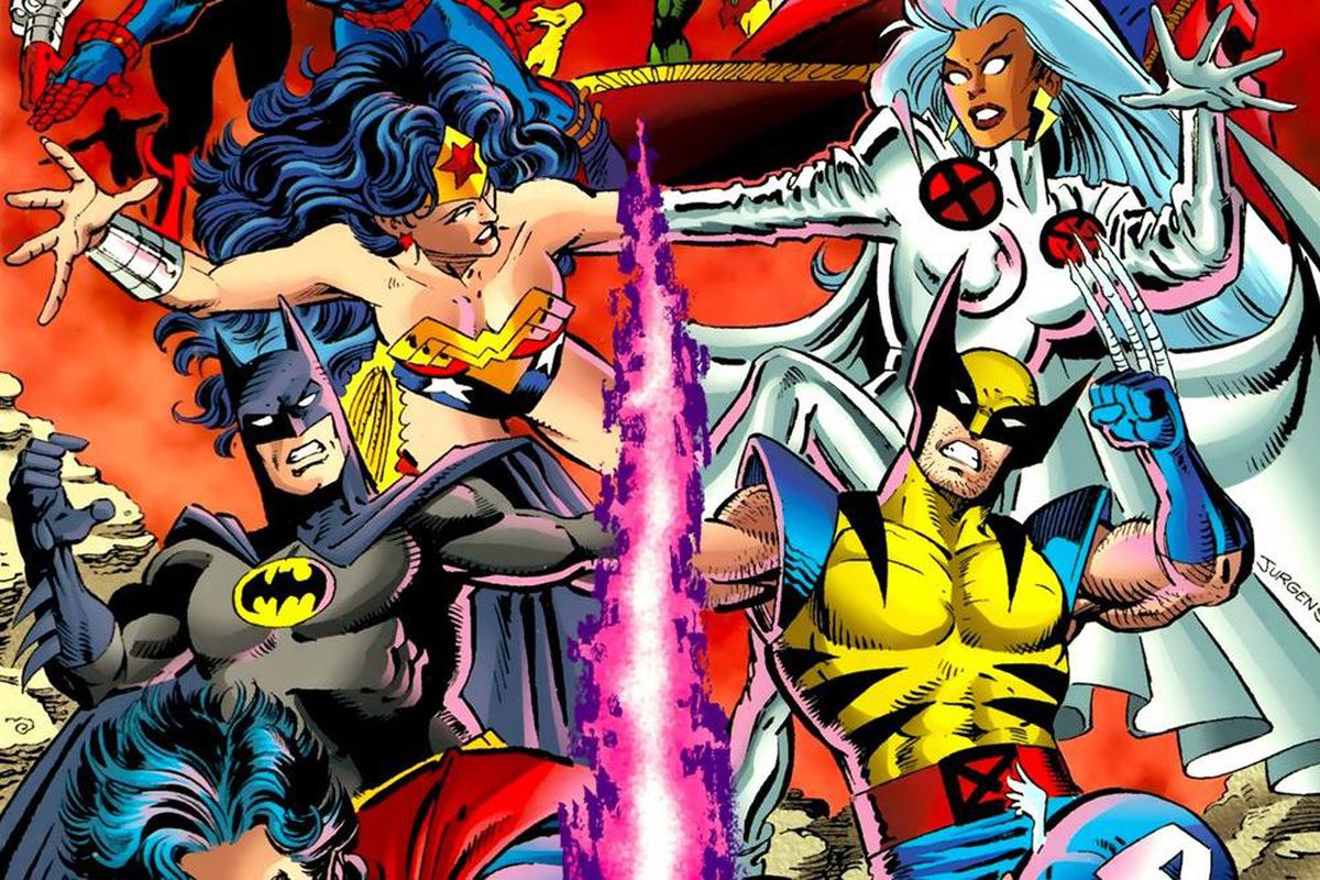 Wonder Woman, Storm of the X-Men, Batman, and Wolverine are sucked into a beam of energy on the cover of DC vs. Marvel #4, DC Comics and Marvel Comics (1996).