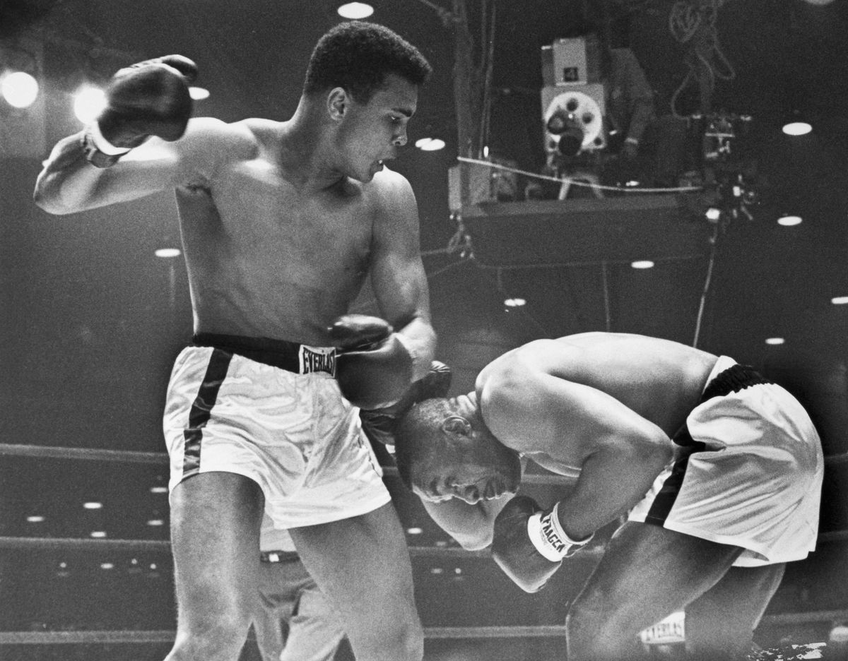 Boxers Cassius Clay and Sonny Liston Fighting