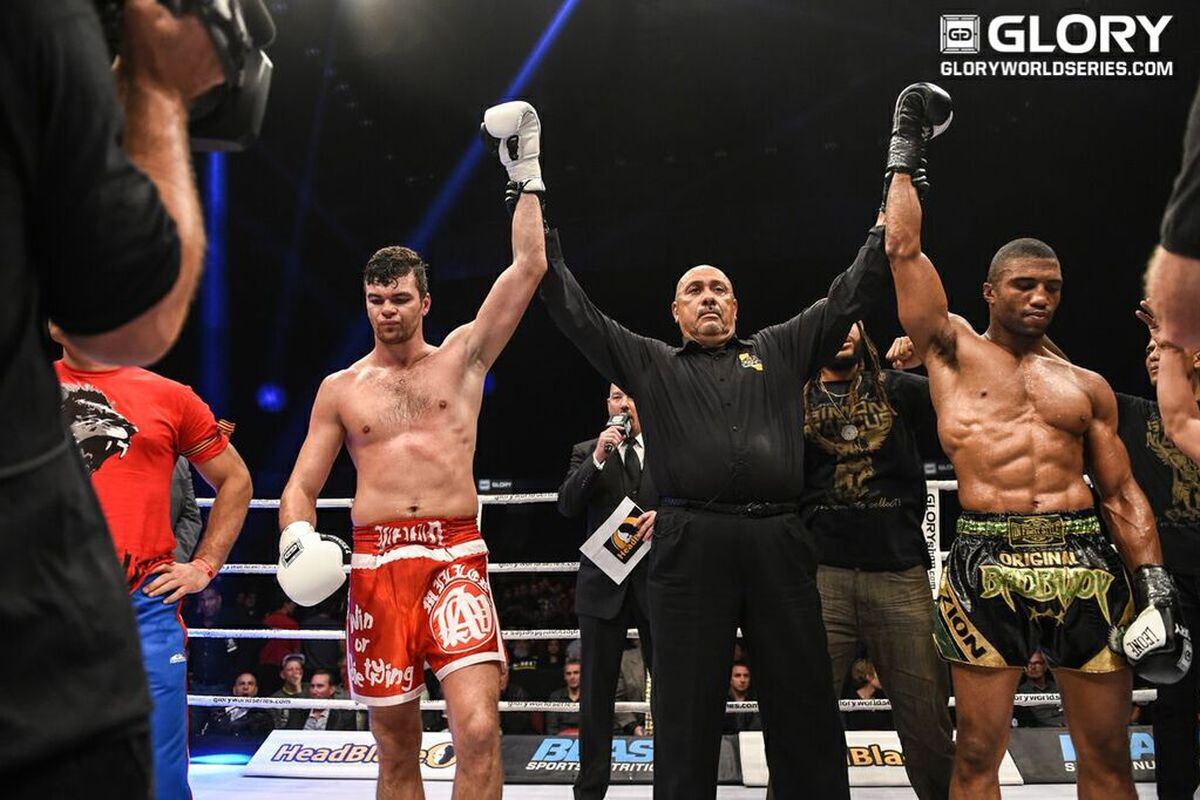 Artem Levin and Simon Marcus after fighting to a draw at GLORY 21