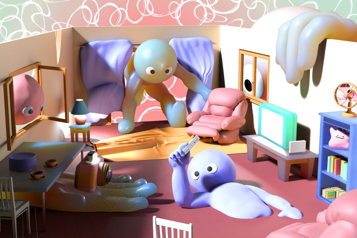 Exaggerated characters look over a sample room used for Wii gameplay