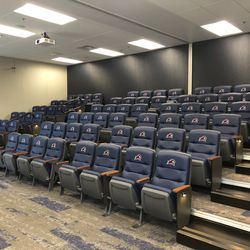 NJIT's film room can fit about 96 people and can also be split in half. The Highlanders are able to do separate film sessions at once.