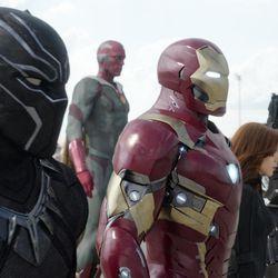 "From left, Black Panther/T'Challa (Chadwick Boseman), Vision (Paul Bettany), Iron Man/Tony Stark (Robert Downey Jr.), Black Widow/Natasha Romanoff (Scarlett Johansson), and War Machine/James Rhodey (Don Cheadle) in ""Marvel's Captain America: Civil War."""