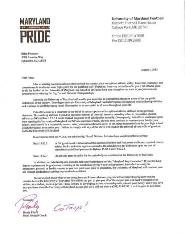 Plummer scholarship offer letter