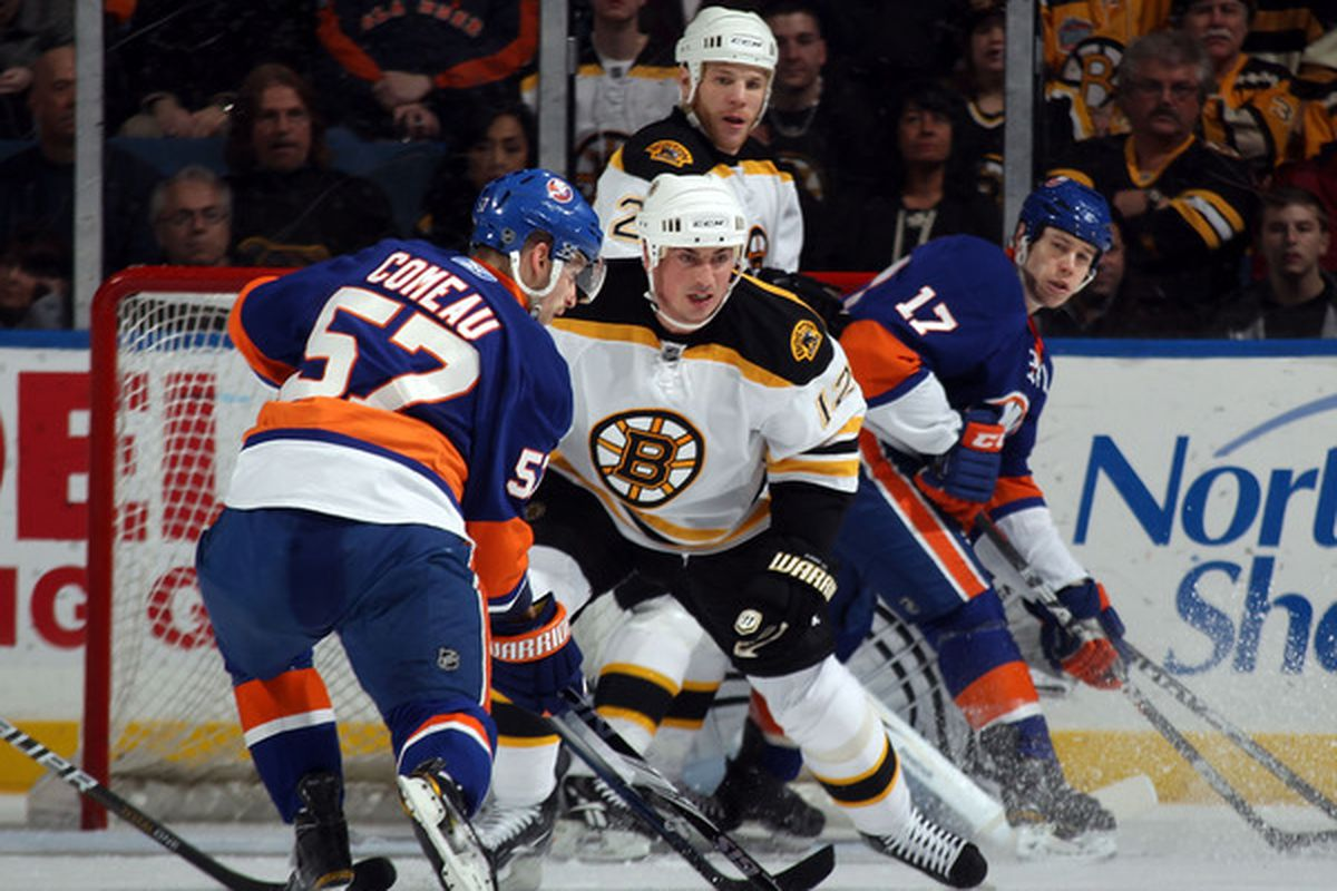 UNIONDALE, NY - MARCH 11: Tomas Kaberle #12 of the Boston Bruins looks to block a shot by Blake Comeau #57 of the New York Islanders at the Nassau Coliseum on March 11, 2011 in Uniondale, New York.  (Photo by Bruce Bennett/Getty Images)