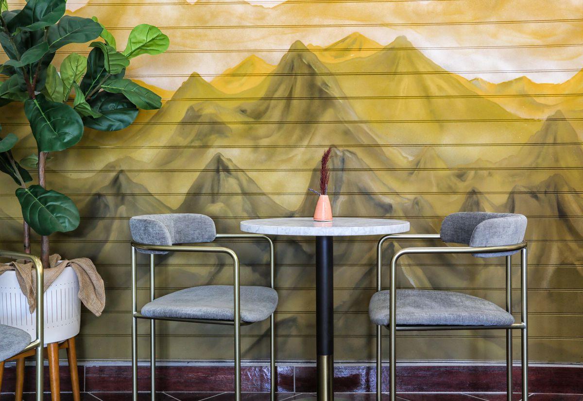 A mural of a mountain