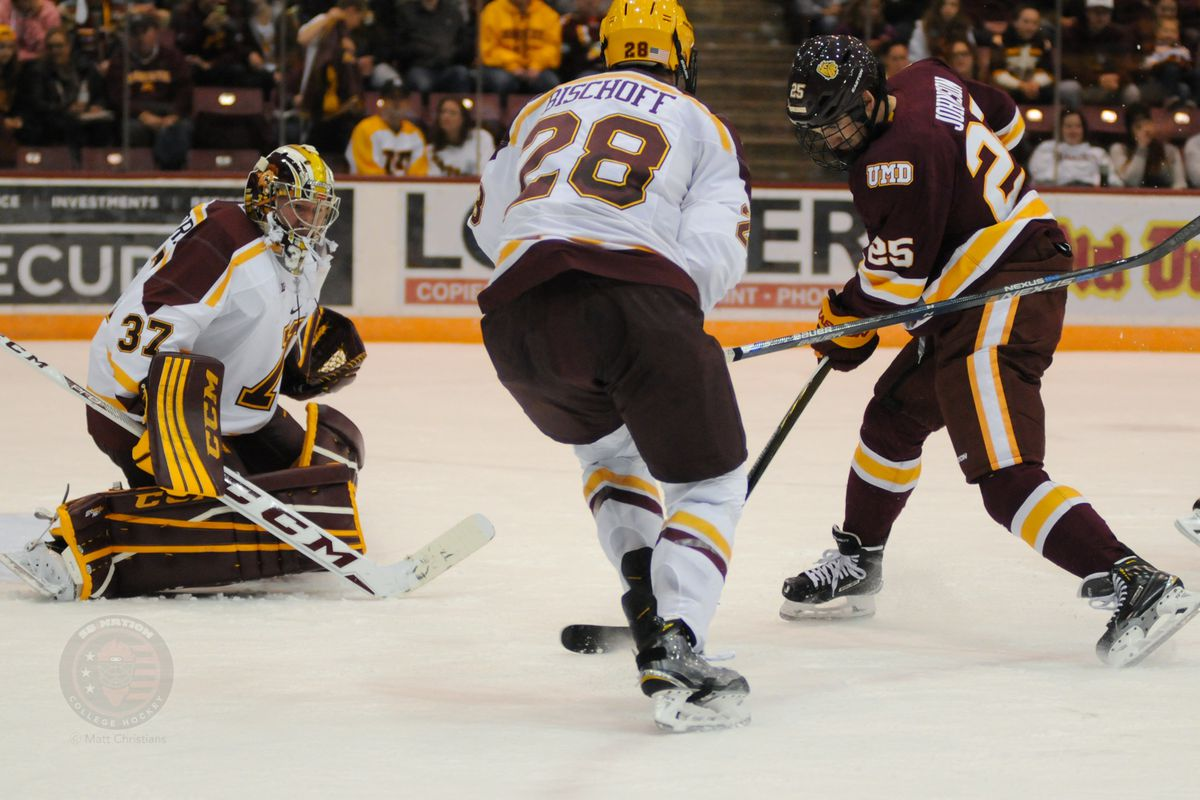 Although Jake Bischoff (28) scored a power play goal Friday, the Gophers gave up two to St. Cloud State in a 3-2 loss.