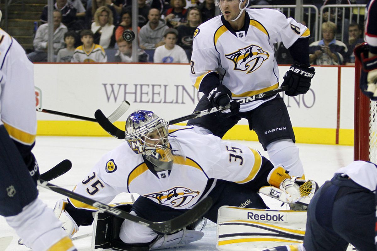 COLUMBUS, OH - OCTOBER 7:  Pekka Rinne #35 of the Nashville Predators makes a save against the Columbus Blue Jackets during the game at Nationwide Arena on October 7, 2011 in Columbus, Ohio.  (Photo by Justin K. Aller/Getty Images)