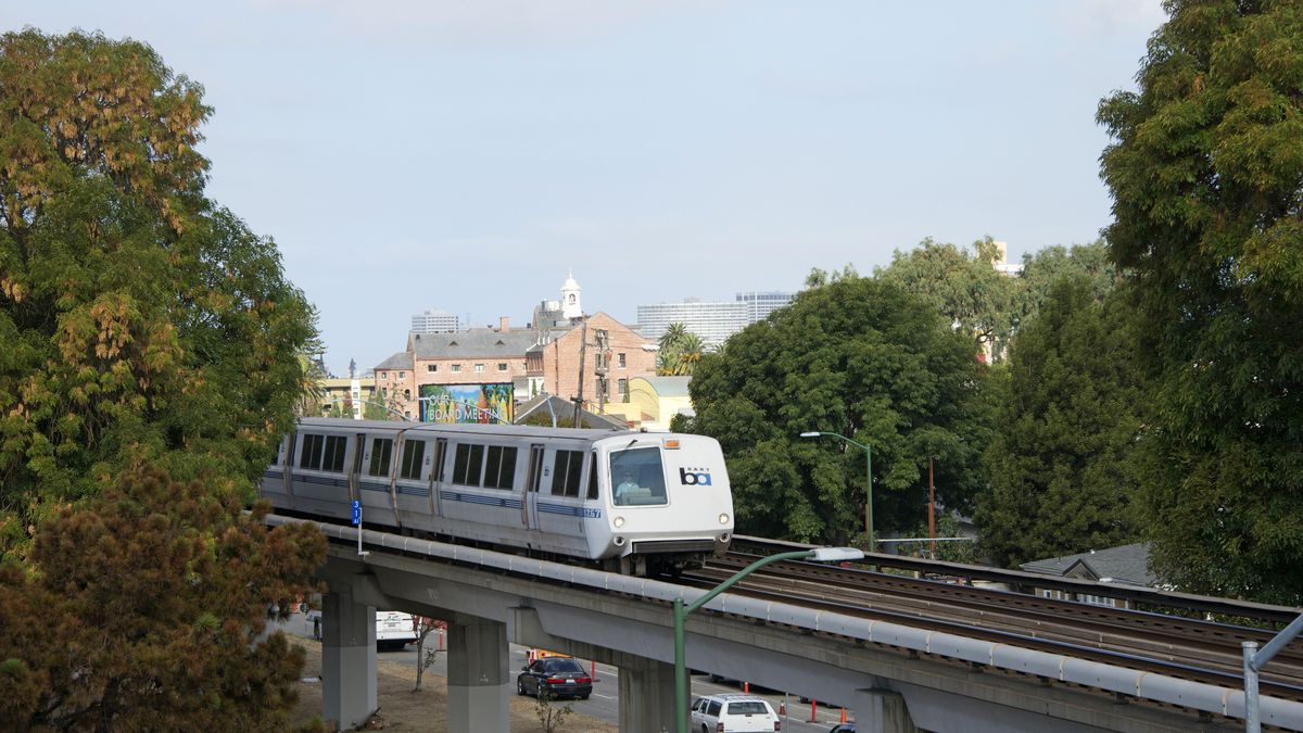 A white light-rail train on elevated tracks, with the tops of trees and buildings visible as it passes.