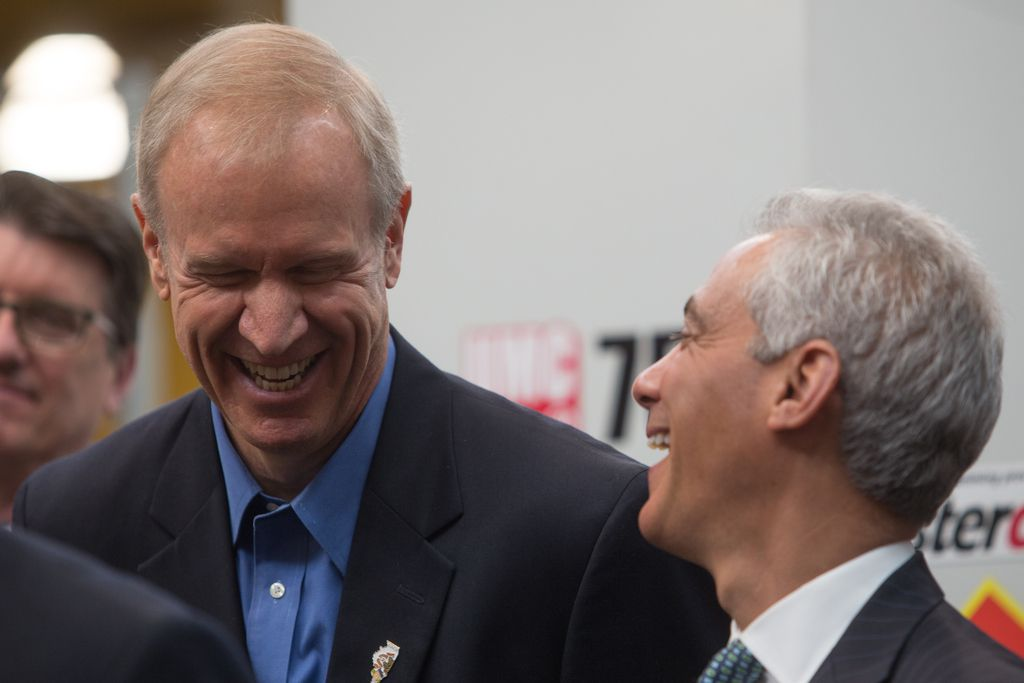 Bruce Rauner (left) and Rahm Emanuel at the opening of the Digital Manufacturing and Design Innovation Institute in Goose Island in 2015.