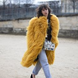 Bright pops of color courtesy of big fur coats and Louis Vuitton bags.