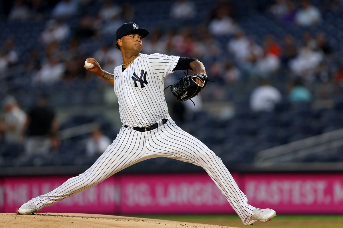 Luis Gil #81 of the New York Yankees in action during a game against the Toronto Blue Jays at Yankee Stadium on September 8, 2021 in New York City.