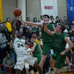 St. Patrick's Austin Freeman (24) gets a steal and gets to the basket, Friday 02-08-19. Worsom Robinson/For the Sun-Times.