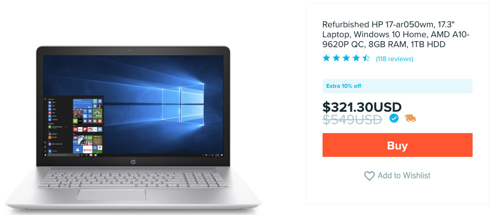 A screenshot of a refurbished HP laptop on the Wish shopping site