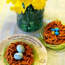 Butterscotch nests with candy eggs