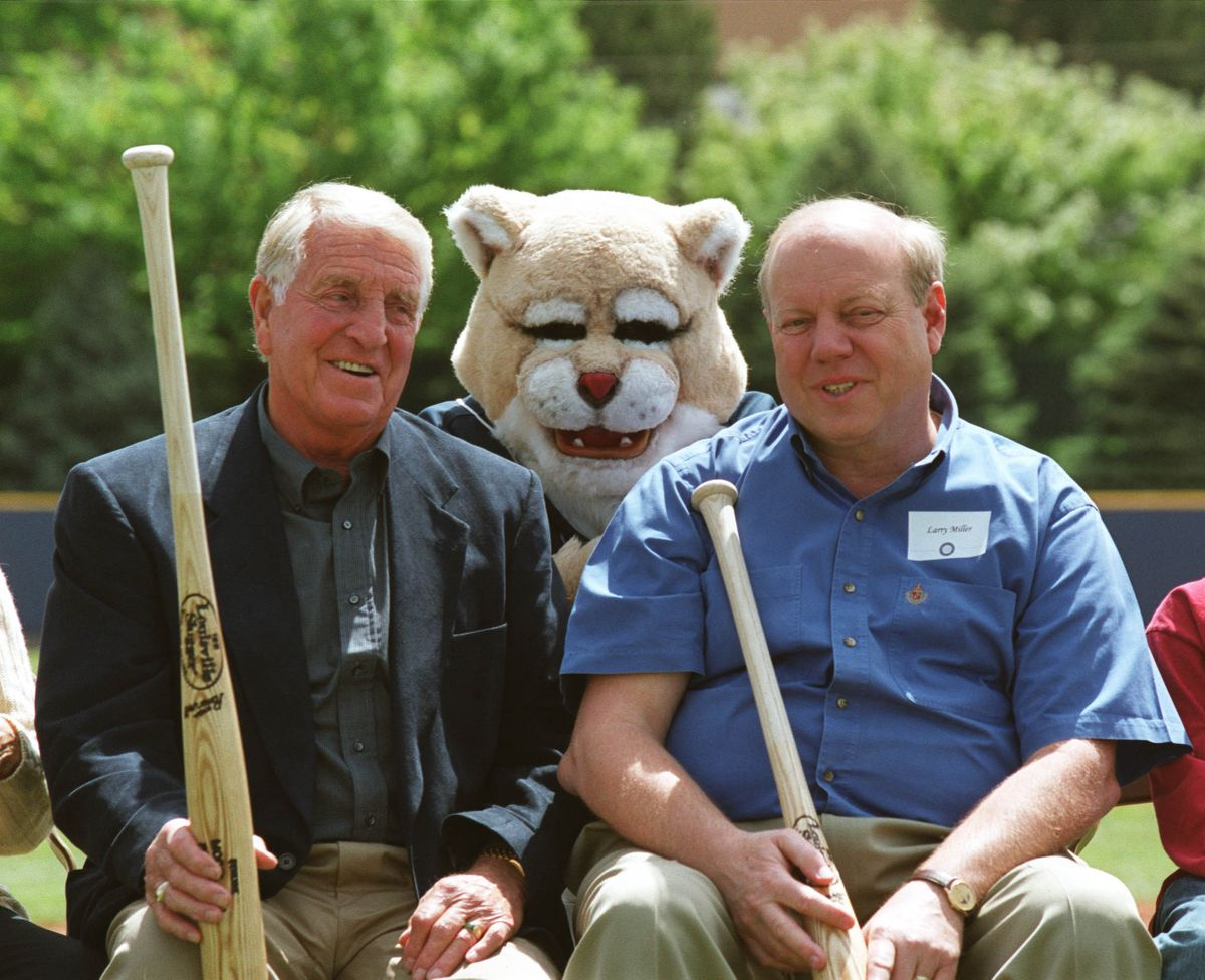 Sy Kimball, left, Cosmo and Larry H. Miller were on hand for the groundbreaking of the new baseball/softball complex on May 13, 2000.