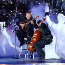 Sting and Yo Yo Ma perform during the opening ceremony of the Salt Lake 2002 Winter Games at the University of Utah's Rice-Eccles Stadium on Friday, Feb. 8, 2002.