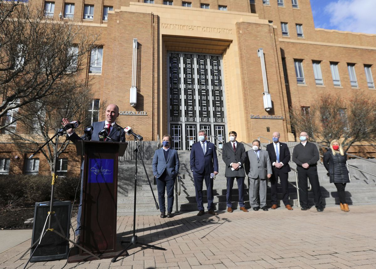 Gov. Spencer Cox speaks during a press conference to announce the launch of Landed, a down payment assistance program that helps educators and government workers buy a home, outside of Ogden City Hall in Ogden on Tuesday, Feb. 23, 2021.