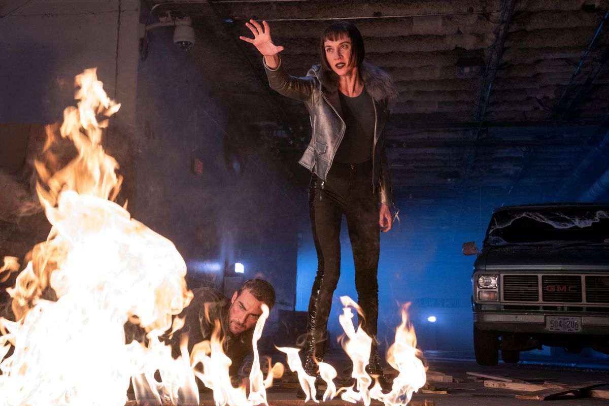 A dark force creates a melee forcing Hastings and Ana to work together. Daimon and Gabriella discover the events of the Blood Hotel are connected. The demon's identity is revealed, shaking Ana and Daimon to their core. Yen gets the upper hand. Daimon Helstrom (Tom Austen) and Ana Helstrom (Sydney Lemmon), shown.
