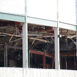 10:44 a.m. A look at the demolition work under the marquee -