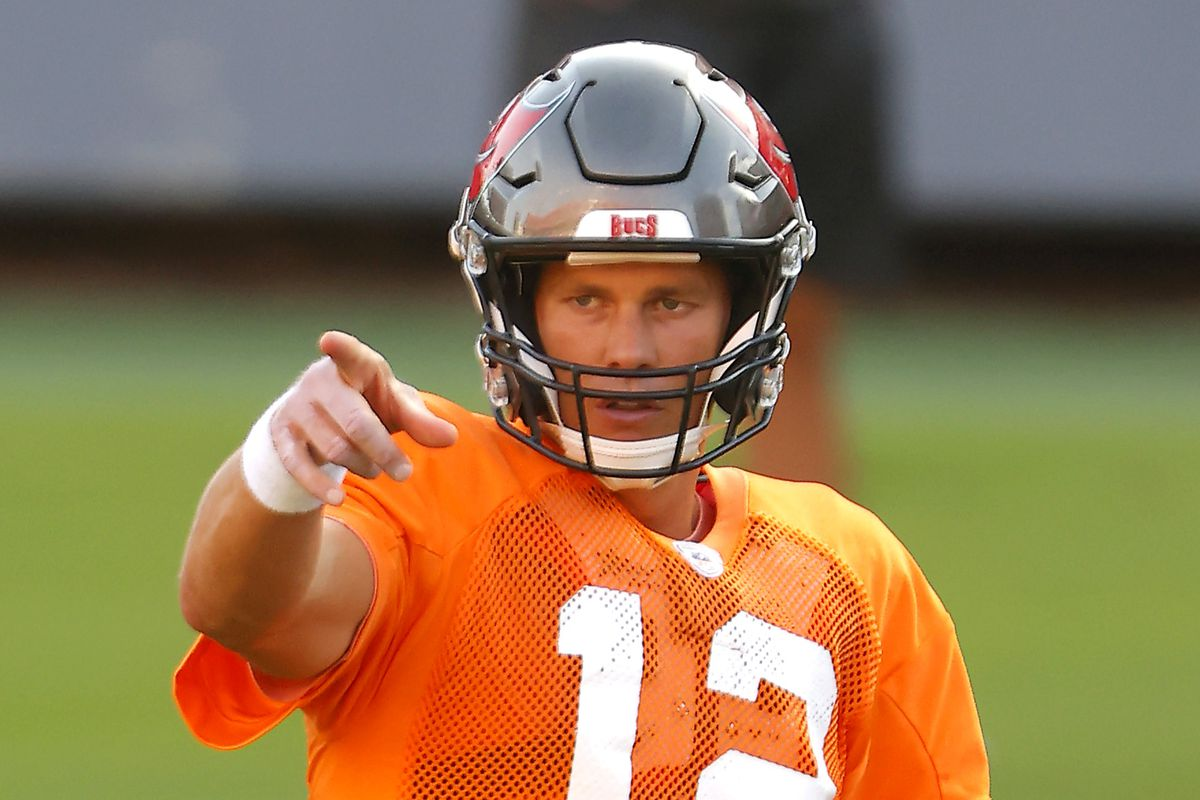 Tom Brady of the Tampa Bay Buccaneers gestures during training camp at Raymond James Stadium on August 28, 2020 in Tampa, Florida.