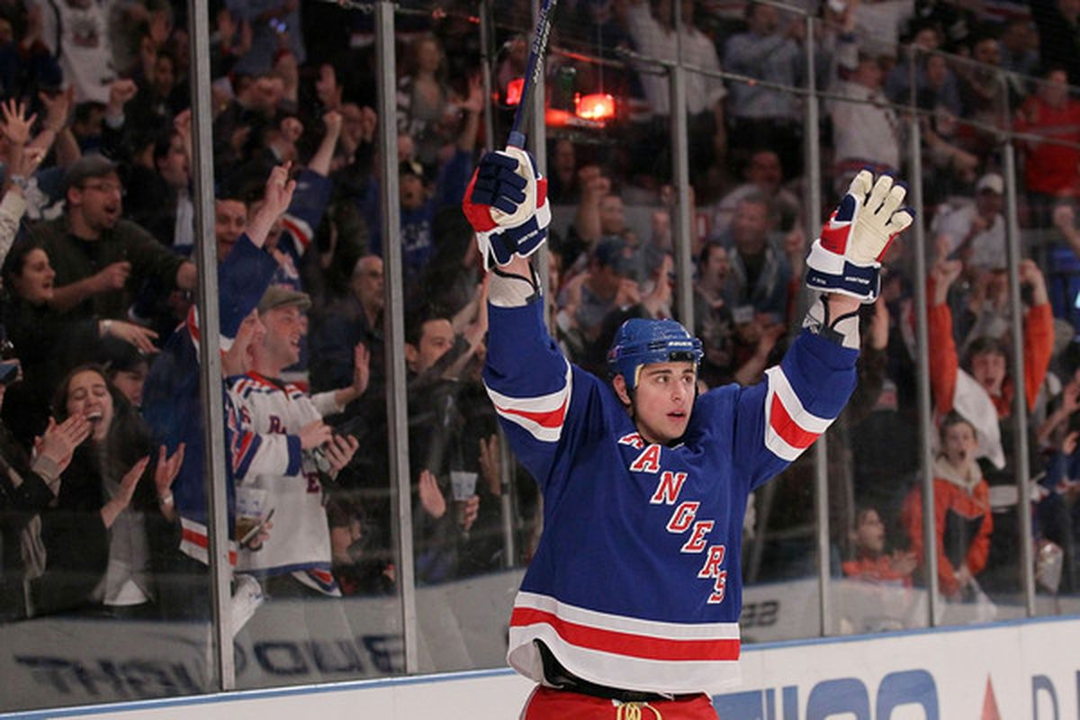 NEW YORK - APRIL 09: Brandon Dubinsky #17 of the New York Rangers celebrates scoring a goal against the Philadelphia Flyers during their game on April 9, 2010 at Madison Square Garden in New York City.  (Photo by Chris McGrath/Getty Images)