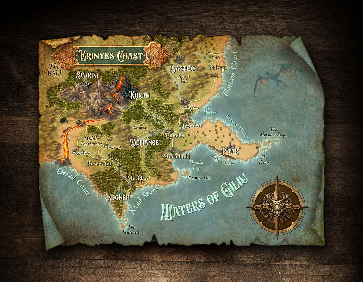 The map is title Erinyes Coast, and the sea is named the Waters of Giliu. There's a faint blue dragon flying through the air.
