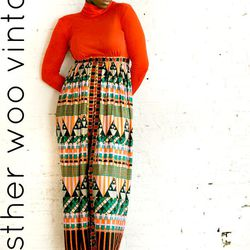 """Psychedelic print maxi skirt and matching hot pants, $75 from <a href=""""http://estherwoovintage.bigcartel.com/"""">Esther Woo Vintage</a>"""