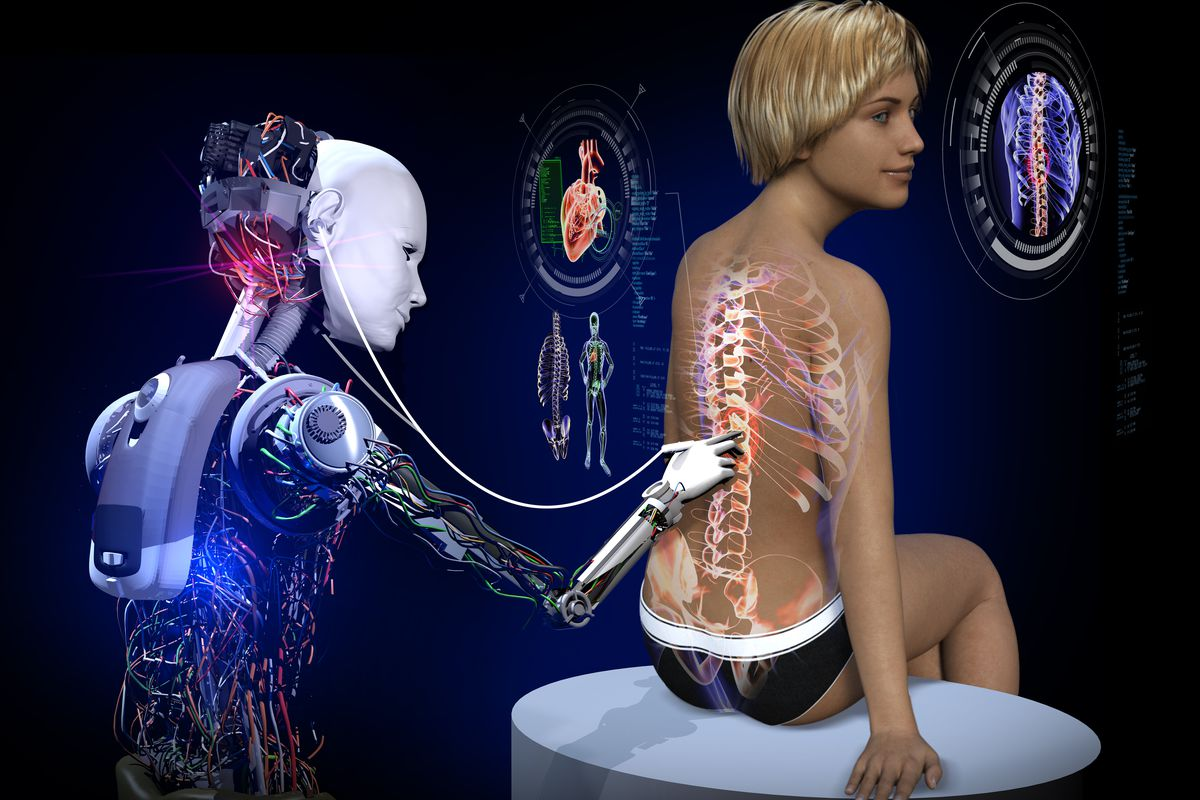 Health control in a spaceship infirmary. A robot doctor is examining a woman at the clinic. The potential future diagnosis of a spinal cord problem.