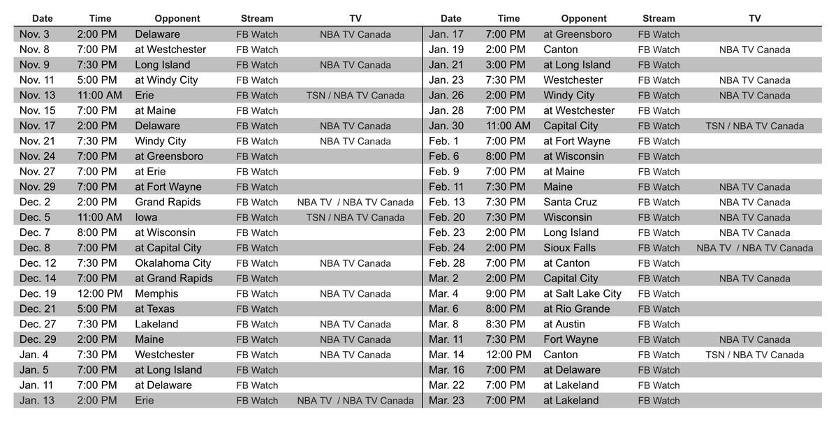 Raptors 905 Announce Broadcast Schedule Four Games On Tsn Raptors Hq
