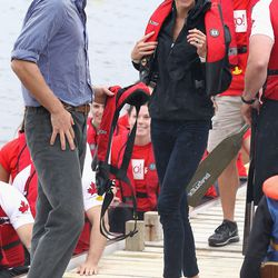 Wearing a Nike windbreaker and Sebago 'Bela' shoes for a boat ride in Canada on July 4th, 2011.