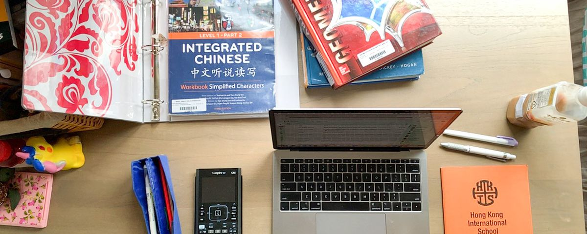 Erika Hornmark's items sit on her desk at her home in Hong Kong on April 30, 2020.