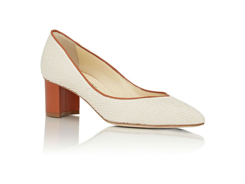Sarah Flint Woven Emma Pumps in white and brown