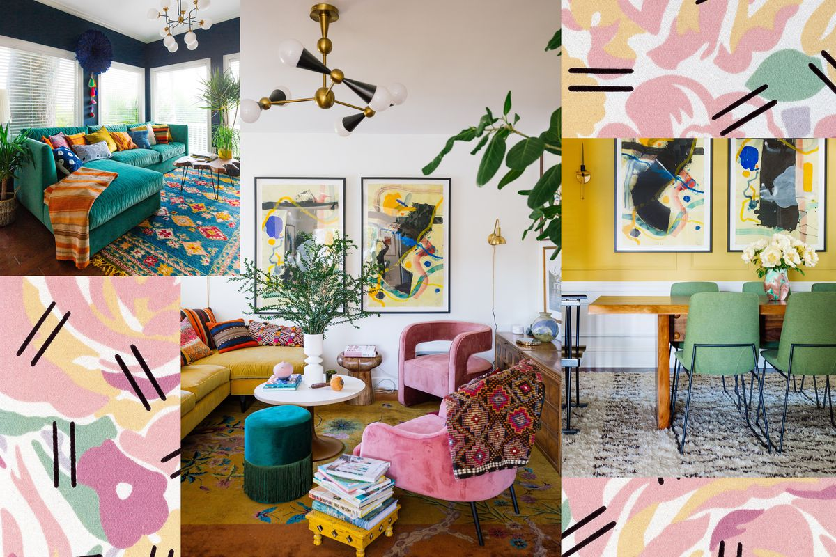A collage of a living room with a peacock-green sofa, blue walls, and blue-and-orange ornate rug; a living room with a yellow antique Chinese rug, pink upholstered armchairs, a brass and steel chandelier, and abstract artwork on the walls; a dining room with a flokati rug, live-edge wood table, metal chairs, and pink walls.