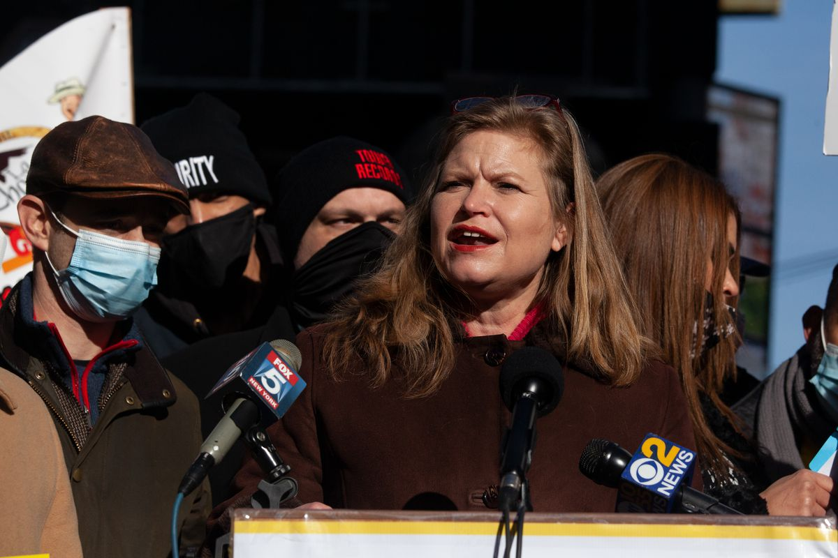 Mayoral candidate Kathryn Garcia speaks at a Times Square rally for restaurant workers, Dec. 15, 2020.