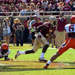 FR RB Cam Akers makes a man miss (the guy on the ground) and is off to the races.