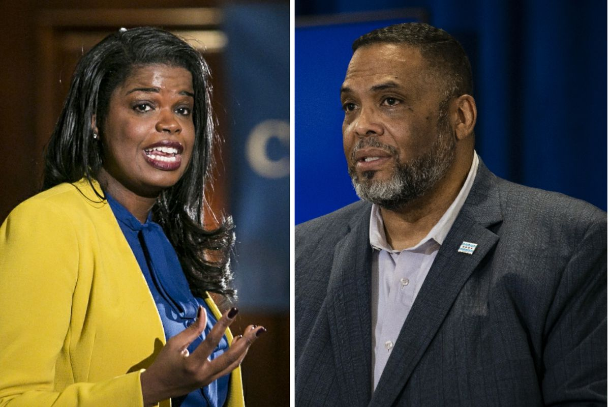 Cook County State's Attorney Kim Foxx, left, in 2018;Ald. Chris Taliaferro (29th), right, earlier this month.