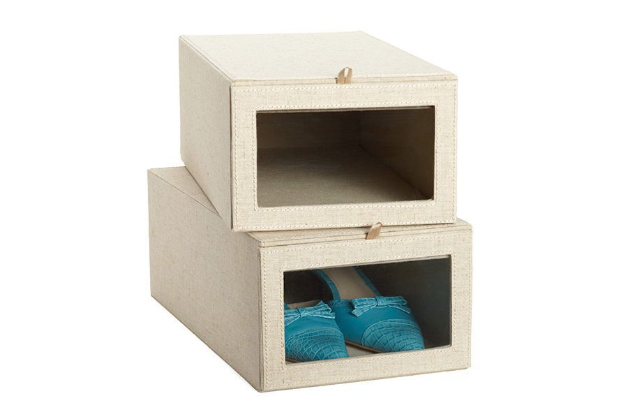 A stack of two linen boxes with clear fronts.