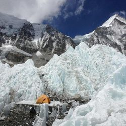 """The climbers learned to place their tents in safe spots while climbing Mount Everest. """"We didn't ever actually sleep in this tent,"""" Steve Pearson said. """"We set up this tent out on the Khumbu glacier near base camp because it had a line of sight down the glacier to the nearest cell tower. We would occasionally hike out onto the glacier on rest days in order to get that stronger signal to do emails, and it would be nice to spend a while there, and not have the bright bright sun on our computer screens."""""""