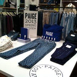 Left, Kylie bicycle-print jeans ($190). Center, Skyline skinnies in White Rose ($190). Right, Verdugo skinnies Summer Night Batik ($200).
