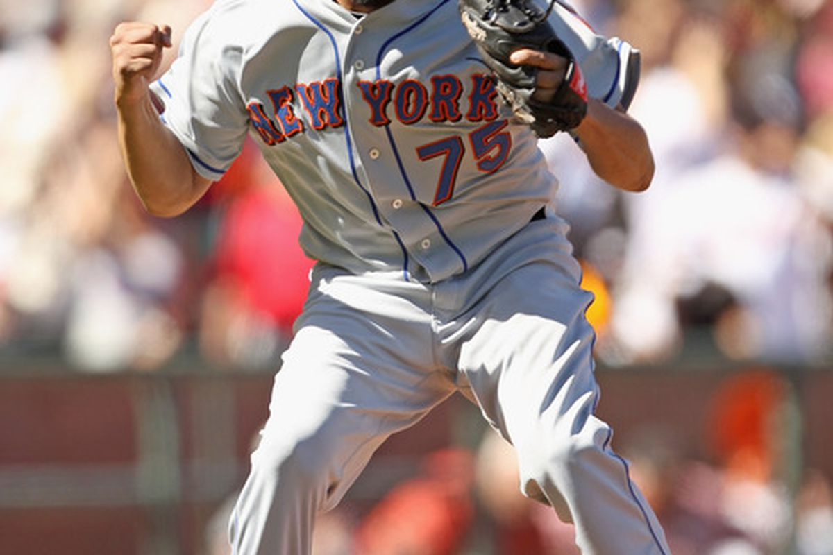 Francisco Rodriguez reacts after the Mets beat the Giants 4-3 in ten innings at AT&T Park on July 18, 2010.