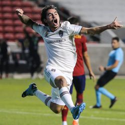 Colorado Rapids midfielder Braian Galvan (52) celebrates after scoring the fourth goal during an MLS soccer game at Rio Tinto Stadium in Sandy on Saturday, Sept. 12, 2020.