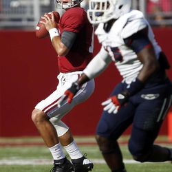 Alabama quarterback AJ McCarron (10) looks to pass against Florida Atlantic during the first half of a NCAA college football game on Saturday, Sept. 22, 2012, in Tuscaloosa, Ala.