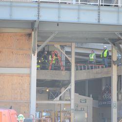2:14 p.m Working along the bleacher ramp -