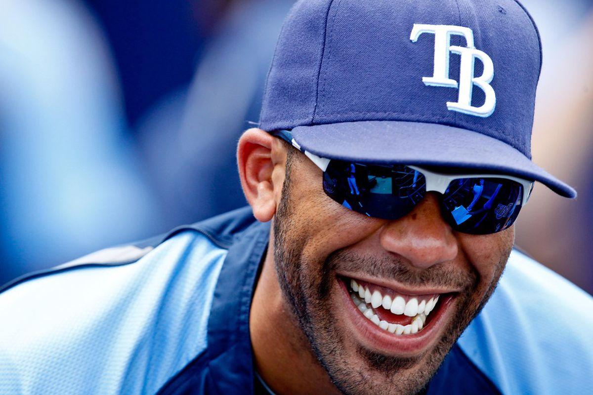 David Price-Smiling because he doesn't realize he's doooooomed. Mandatory Credit: Derick E. Hingle-US PRESSWIRE