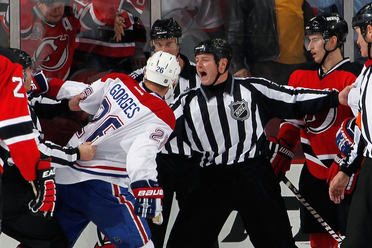 The referees might need all 10 spots in the penalty box after this altercation.