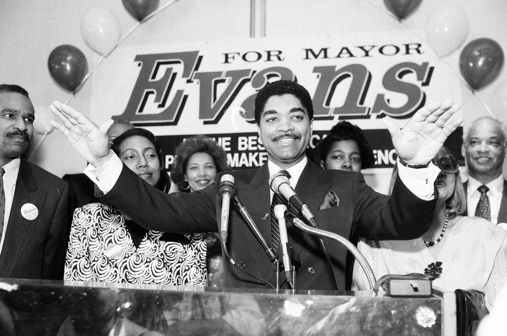 Then-Ald. Timothy Evans during his 1989 mayoral run. File Photo.
