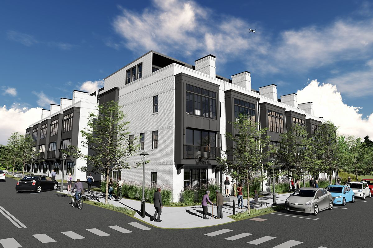 A rendering of forthcoming townhomes in the old fourth ward.