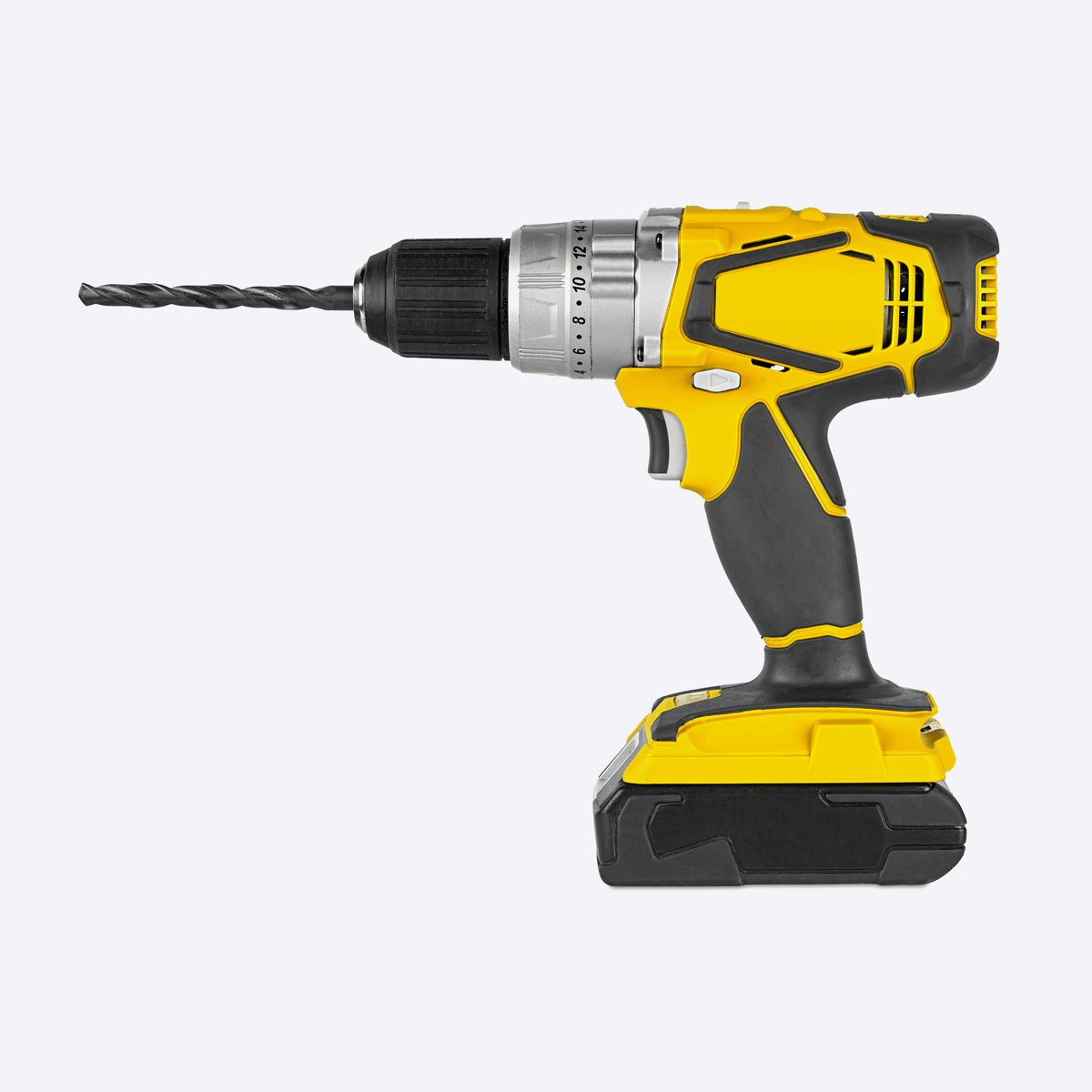 A yellow drill on a gray background.