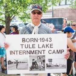 Talbert Shinsako at Saturday's rally.   James Foster/For the Sun-Times